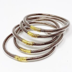Jewelry - 5 BROWN sand filling Clear jelly bangle bracelets